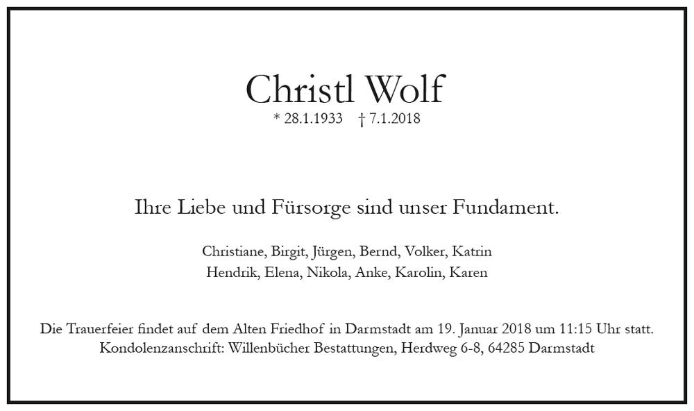 Traueranzeige von  Christl Wolf