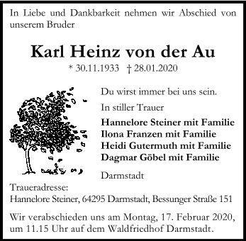 Traueranzeige von  Karl Heinz von der Au