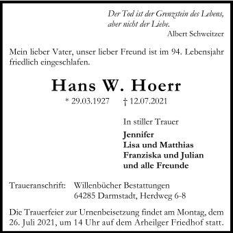 Traueranzeige von  Hans Hörr