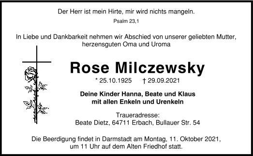Traueranzeige von  Rose Milczewsky