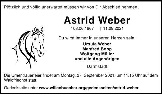 Traueranzeige von  Astrid Weber