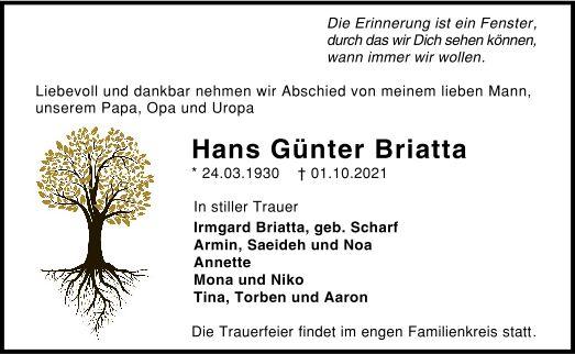 Traueranzeige von  Hans Günter Briatta