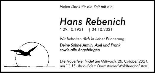 Traueranzeige von  Hans Rebenich